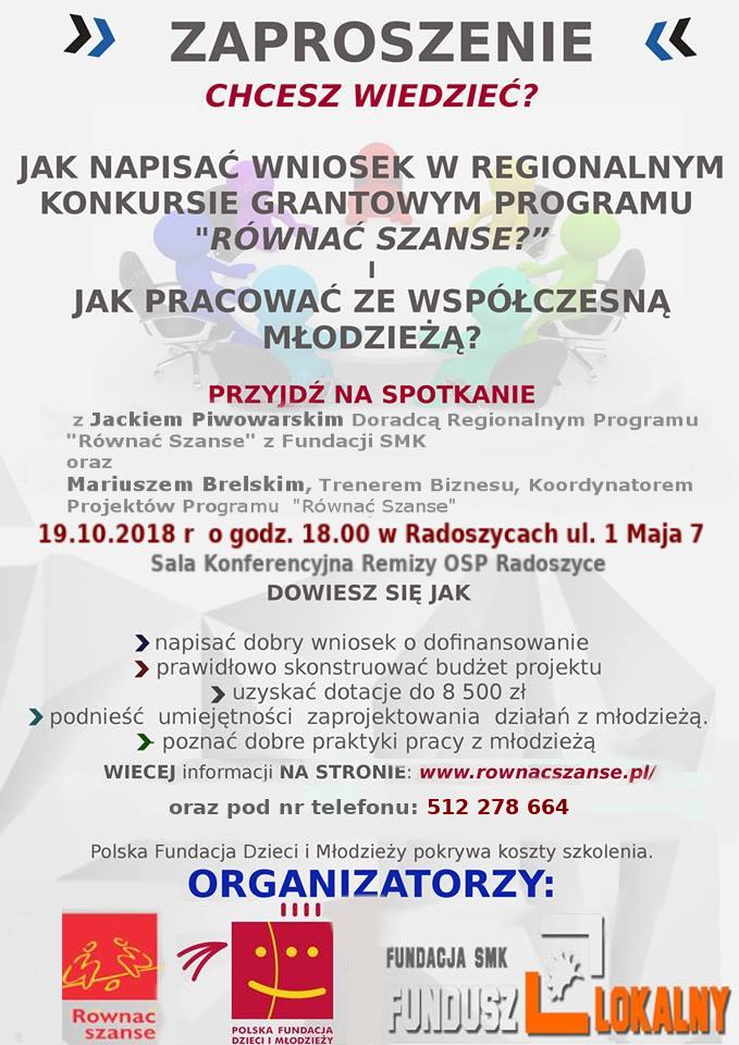 plakat informacyjny o pisaniu projektów do programu Równać Szanse